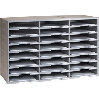 Storex 24-Compartment Literature Organizer, Gray