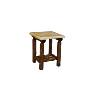 Rustic White Cedar Log Open Nightstand/End Table (two toned) -Amish Made