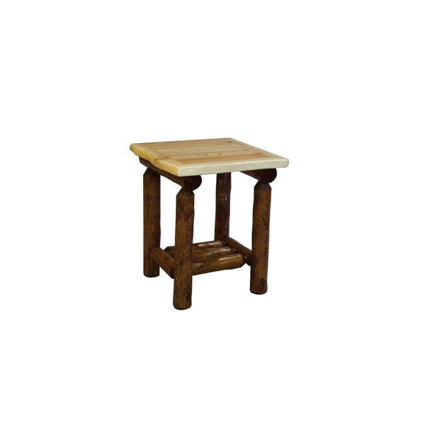Shop Rustic White Cedar Log Open Nightstand/End Table (two