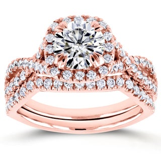 Annello by Kobelli 14k Rose Gold 1ct Forever Brilliant Moissanite and 3/4ct TDW Diamond Criss Cross Bridal Set (GH, I1-I2)