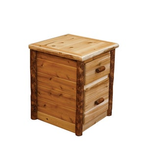 Rustic Two Toned White Cedar Log 2 Drawer Nightstand/ End Table -Amish Made