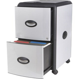 Storex 2-Drawer Mobile File Cabinet with Lock & Extra Storage / Metal Accent Panels /Grey