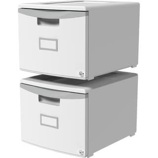 Storex 61251B02C Gray Single Drawer Mini File Cabinet With Lock (Set of 2)