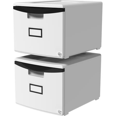 Storex Single Drawer Mini File Cabinet with Lock, Grey/Black, 2-Pack
