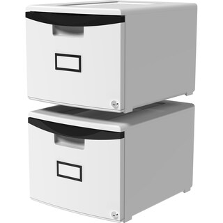 Storex Single Drawer Mini File Cabinet With Lock/ Grey +Black Rim/ Durable Plastic (2 units/pack)