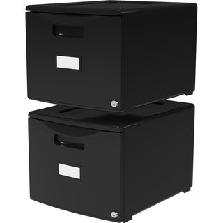 Storex Black Plastc Single-drawer Mini File Cabinet (Pack of 2)