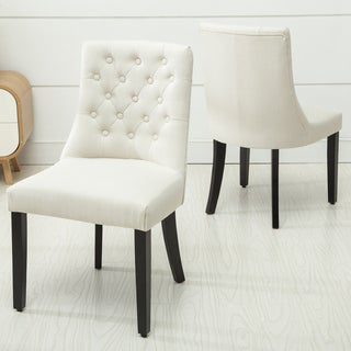 Christies Home Living Brooklyn Beige Linen Button-tufted Modern Dining Chair (Set of 2)