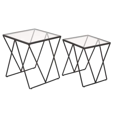 Urban Designs Black Metal and Glass Square Accent Table (Set of 2)