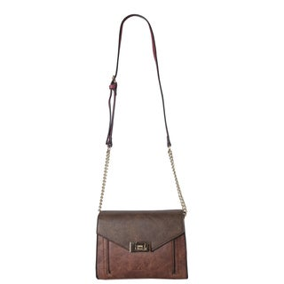 Diophy Faux-leather Front Pocket Flap with Turn-lock Crossbody Handbag
