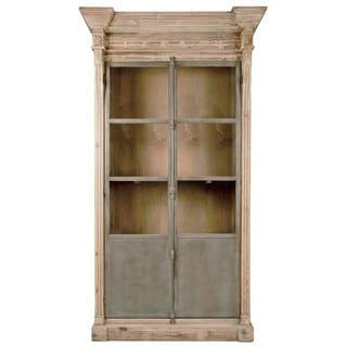 Gray Manor Nelson Smoke Grey Pine Wood and Steel Display Cabinet