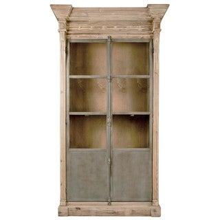 Gray Manor Nelson Smoke Grey Pine Wood and Steel Display Cabinet