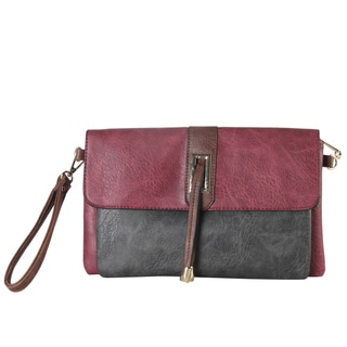 Diophy Red/Black Faux-leather Flapover Crossbody Handbag with Removable Wristlet Strap