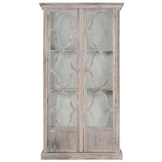 Gray Manor Arnold Cream Wood and Glass Display Cabinet