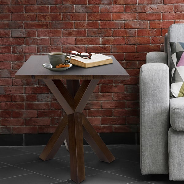 Strick & Bolton Lempicka End Table with 1-inch Thick Solid Walnut Top and Stylish X-detailing