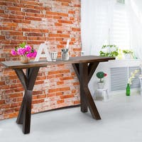 Oliver & James Lempicka Console Table with 1-inch Thick Solid Walnut Wood Top