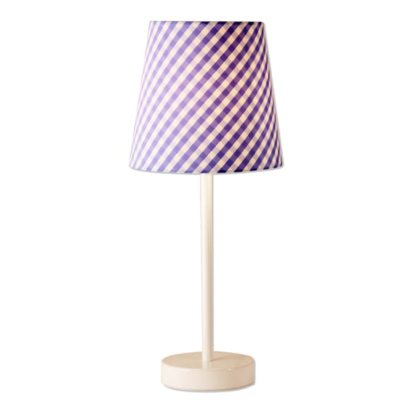Lightaccents Table Lamp White Finish with Blue Checked Shade