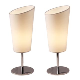 Light Accents Bedroom Side Metal Table Lamps, Chrome with Off White Shades (Set of 2)