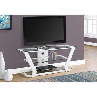 Tempered Glass White Metal TV Stand