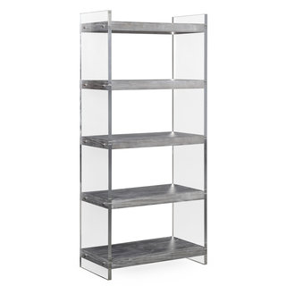 Berlin Clear Lucite and Grey Veneer Pine Bookcase