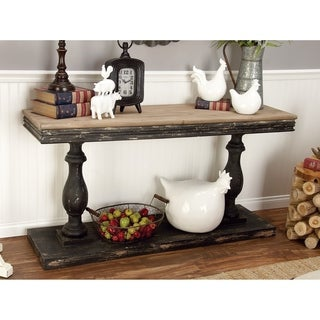 Benzara Black Wood Console Table