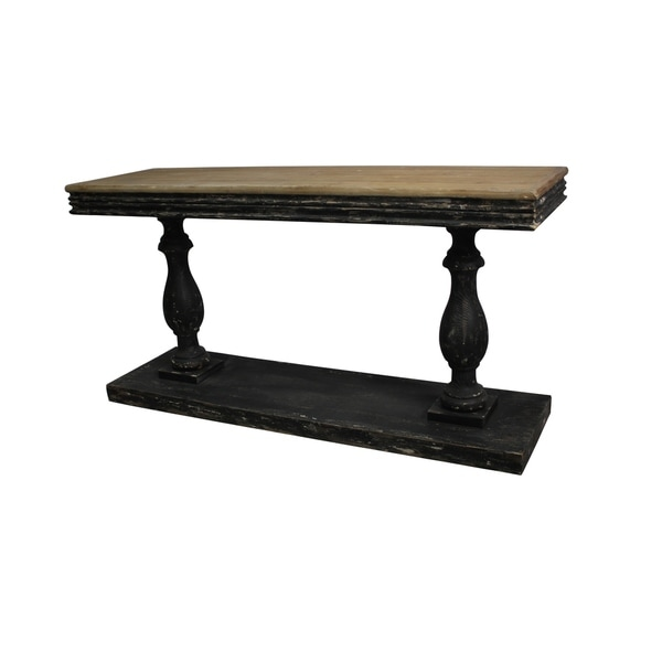 Rustic Fir Wood Baluster Console Table by Studio 350 - N/A