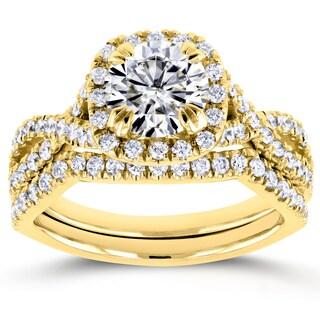 Annello by Kobelli 14k Yellow Gold 1ct Moissanite (FG) and 3/4ct TDW Diamond (GH) Criss Cross Bridal Set