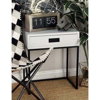 Benzara White/Black Wood Metal 20 x 24 Side Table