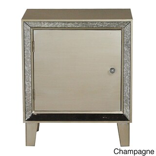 Bon Marche Collection Wood and Glass Mirror-trim 1-door Cabinet