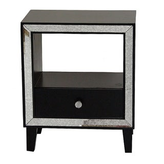 Bon Marche Collection 1 Drawer Open Top Mirror Trim Wood, Glass Cabinet