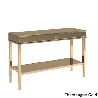 Camille Glam Mirrored TV Stand Console Table with Drawer by iNSPIRE Q Bold (Option: Champagne Gold)