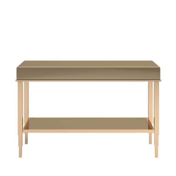 Camille Glam Mirrored TV Stand Console Table With Drawer By INSPIRE Q Bold    Free Shipping Today   Overstock.com   20656021
