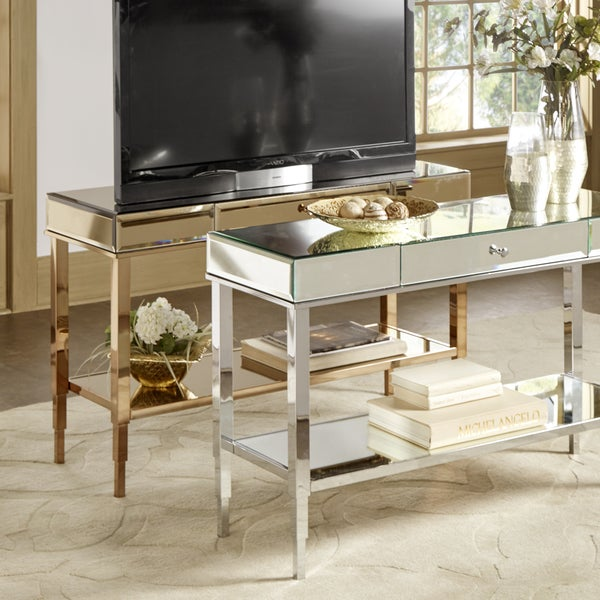 Shop Camille Glam Mirrored Tv Stand Console Table With