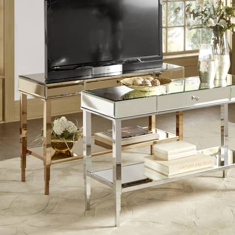 Camille Glam Mirrored TV Stand Console Table with Drawer by iNSPIRE Q Bold