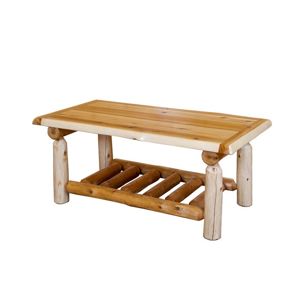 shop rustic white cedar log coffee table on sale free shipping today overstock 14038845. Black Bedroom Furniture Sets. Home Design Ideas