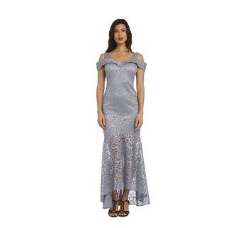 Nightway Women's 1224 Platinum Lace Long Dress