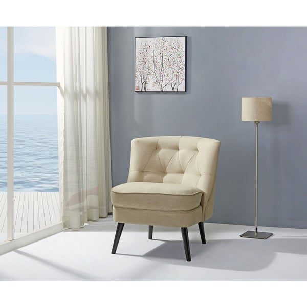 Shop Odessa Beige Accent Chair Free Shipping Today Overstock Com