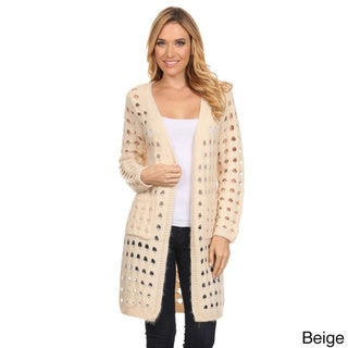 High Secret Women's Solid Color Crochet Long-sleeve Open Front Cardigan