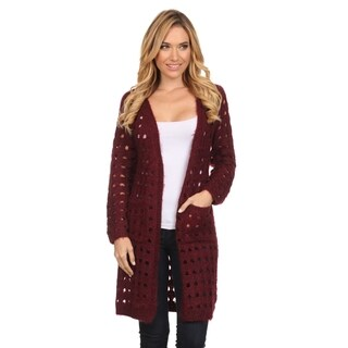 High Secret Women's Solid Color Crochet Long-sleeve Open Front Cardigan (More options available)