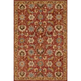 Hand-hooked Owen Terracotta/ Gold Wool Rug (7'9 x 9'9)