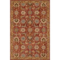 Hand-hooked Owen Terracotta/ Gold Wool Rug - 7'9 x 9'9