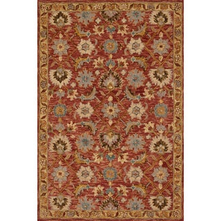 Hand-hooked Owen Terracotta/ Gold Wool Rug (5'0 x 7'6)
