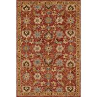 Hand-hooked Owen Terracotta/ Gold Wool Rug - 5' x 7'6