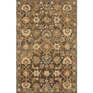 Hand-hooked Owen Dark Taupe/ Multi Wool Rug - 5' x 7'6