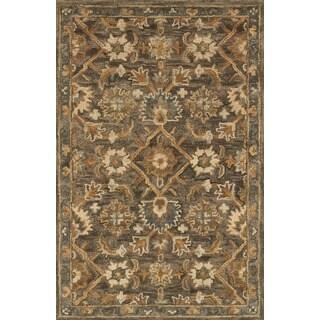 Hand-hooked Owen Dark Taupe/ Multi Wool Rug (3'6 x 5'6)