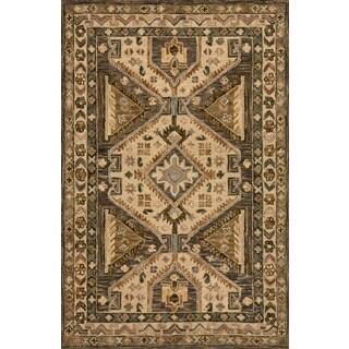 Hand-hooked Owen Walnut/ Beige Wool Rug (7'9 x 9'9)