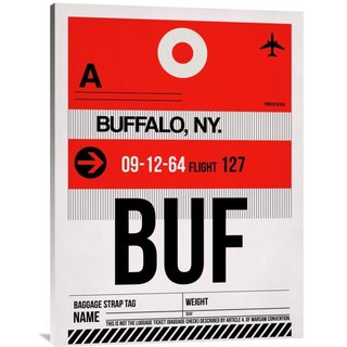 Naxart Studio 'BUF Buffalo Luggage Tag I' Stretched Canvas Wall Art