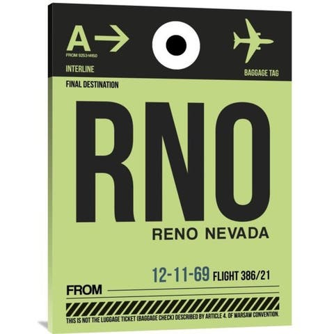 Naxart Studio 'RNO Reno Luggage Tag I' Stretched Canvas Wall Art