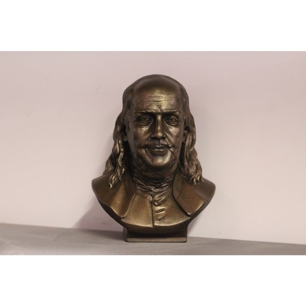 Bonded Marble Bust of Benjamin Franklin 9 Inches Tall