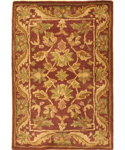 Safavieh Handmade Exquisite Wine/ Gold Wool Rug (2' x 3')
