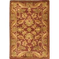 Safavieh Handmade Exquisite Wine/ Gold Wool Rug (2' x 3')